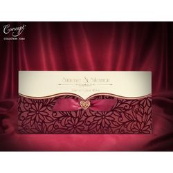 Red velvet design, with bow, luxury wedding card