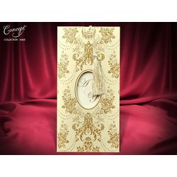 With tassel, Gold shinnign printed, Asian style lux wedding card