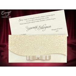 Velvet design, with bow, special wedding card
