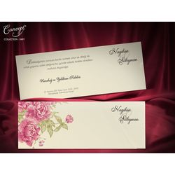 Red rose design wedding card