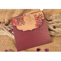 Purple flower design wedding card