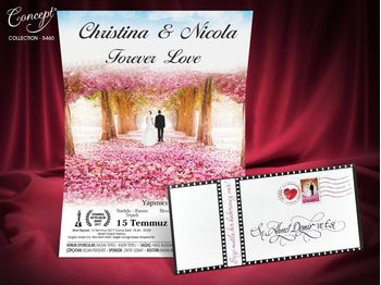 Wedding card with movie poster design