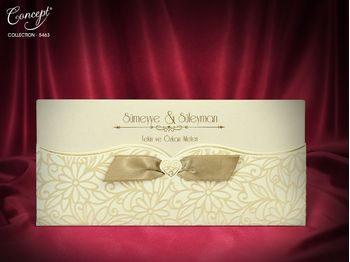 Velvet Design, Cream color, with bow wedding card