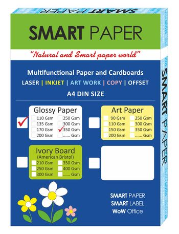 Coated Glossy Paper A4, 350 Gsm 75 pcs