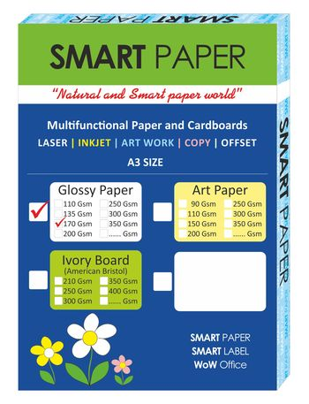 Coated Glossy Paper A3, 170 Gsm 75 pcs